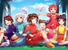 Studio Ghibli, Crossovers, Chihiro, Spirited Away, Sophie Hatter, Kiki Kusakabe, Mei Kusakabe