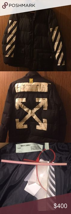 Off White Jacket White and Black jacket. Good for cold weather. I just don't wear it anymore. Wore it a few times took it to the dry cleaners New Years and it's just been hanging there. Off-White Jackets & Coats Bomber & Varsity