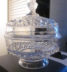 Antique EAPG 1891 U.S. Glass Co. Bar and Diamond Low covered Compote w/Lid