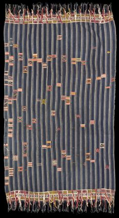 Africa | Men's hand spun cotton wrapper cloth from the Bondoukou area, north east part of the Ivory Coast | ca. 1900