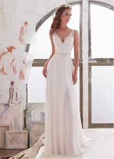 Boho chiffon satin sash beach wedding gown robe de for Concepteurs de robe de mariage australien en ligne