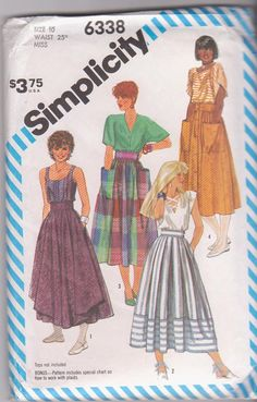 VIntage 1980s pattern for pleated or gathered skirts optional button front overskirt pockets misses size 10 waist 25 Simplicity 6338 UNCUT on Etsy, $9.99