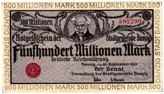 Danzig - Germany - imperial and countries banknotes to Rosenberg - Gdansk. 500 million. Mark Need money certificate 26. 9. 1923 portrait Schopenhauers. Marginal impression gray. Rosenberg 807a. I, rare  Dealer Teutoburger Münzauktion GmbH  Auction Starting Price: 100.00 EUR Danzig, Stamp Collecting, Certificate, Poland, Countries, Auction, Hobbies, Germany, Coins
