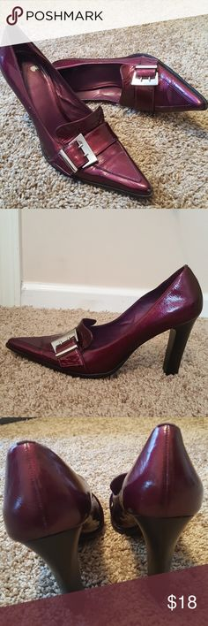 "Gorgeous BCBGMAXAZRIA Cranberry-Wine Heels Immaculate' EUC Cross between Cranberry-Wine color, which means this will go with anything 4"" Heels Silver Buckle Bcbgmaxazria  Shoes Heels"