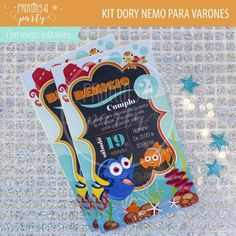 Muchas ideas para decorar tu fiesta de Dory y Nemo con estas decoraciones para imprimir y armar. Recibí tu kit en tu mail, imprimí y decorá. Nemo Y Dory, Party Printables, Invitation Cards, Printables, Tags, Decorations, Invitations