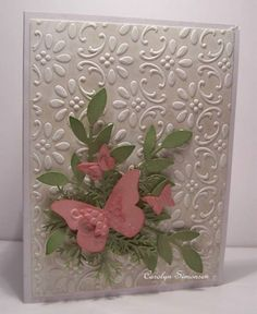 SU Finial Press E F, Little leaves sizzlit, Beautiful Wings embosslit, MS Pine Branch punch, ~butterflies & leaves~lk Pretty Cards, Cute Cards, Diy Cards, Stampin Up Karten, Stampin Up Cards, Butterfly Cards, Flower Cards, Pink Butterfly, Tarjetas Diy