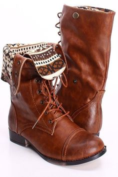 Love these brown leather lace-up combat   boots! The foldable pattern is soo cute. Perfect with jeans,   skirt