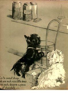 Dopey & Gallant by Marjorie Turner features adorable Scottie & Westie