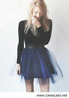Blue skirt and black blouse