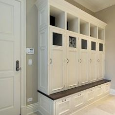 lockers...Someday I'm going to figure out how to have a mudroom like this in my house that currently doesn't have a mudroom.  Someday!