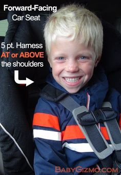 Forward-facing = AT OR ABOVE THE SHOULDERS  BabyGizmo.com reminded me that the harness in a forward-facing car seat should be AT OR ABOVE the child's shoulders