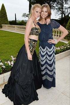 Lara Stone, in vintage Gianni Versace, with Karlie Kloss, in Chanel Haute Couture.