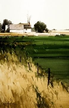 "2005, Fence Line by Joseph Alleman Watercolor ~ 21.5"" x 14.5"""
