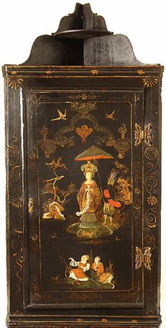 "Japanned Corner Cupboard early 18thc England. 45.28""H x 21.5""W x 14.02""D."