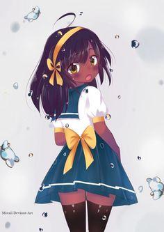 Pretty Anime Girl, Cool Anime Girl, Kawaii Anime Girl, Anime Girls, Drawings Of Black Girls, Anime Girl Drawings, Cute Drawings, Black Girl Cartoon, Black Girl Art