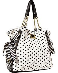 Betsey Johnson Mix N Match Black White Polka Dot Tote Bag Purse for sale online Betsy Johnson Purses, Betsey Johnson Handbags, Fashion Handbags, Purses And Handbags, Fashion Bags, Cute Purses, Cute Bags, Black Tote Bag, Rockabilly