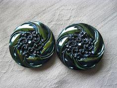 """2 vintage blue shimmer floral glass buttons 1.1/4"""""""
