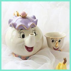 Cartoon Tea Set Beauty And The Beast Taza Bela E A Fera Mrs Potts Teapot Chip Cup Set Lovely Gift Creative Tea Milk Drinkware