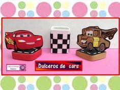 ♥♥Dulceros de cars♥♥ Rayo Mcqueen y Mate♥♥ Reciclando envase de leche♥♥ - YouTube