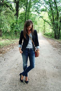 Blazer and faded jeans..