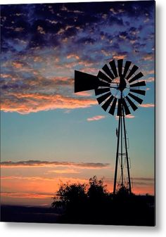 """#Windmill Metal Print featuring the photograph """"Windmill At Dawn"""" by David and Carol Kelly"""