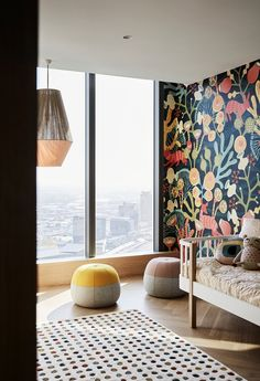 Australian Interior Design Awards kids decor floral wallpaper woven lighting