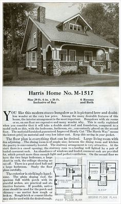 A Plan Book of Harris Homes - 1920 - Bungalow style kit - Model Bungalow Floor Plans, House Floor Plans, Vintage House Plans, Vintage Homes, Victorian Homes, Exposed Rafters, Stucco Exterior, Craftsman Bungalows, Cabin Plans
