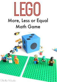 Playing LEGO Minifigures More, Less or Equal is a simple way for kids to practice counting, subitising and comparing quantities.