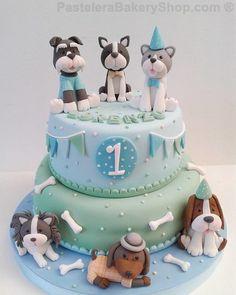 Puppy Birthday Cakes, Themed Birthday Cakes, Birthday Cake Girls, Themed Cakes, Fondant Birthday Cakes, Dog Birthday, Fondant Cakes, Vet Cake, Fondant Flower Cake