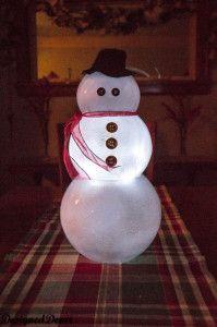 Glass Bowl Snowman
