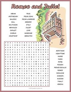 Review characters, places, and themes that appear in Shakespeare's play Romeo and Juliet with this pretty word search worksheet.  Puzzlers will be reviewing character names and plot themes while having fun hunting down the hidden words.  Look for the words in any direction and watch out, there are some overlapping words.
