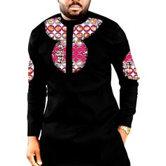 Autumn/Spring Casual Mens Africa Clothing Dashiki Clothes African Print And Black Cotton Fabric Long Sleeve Tops Man shirt Nigerian Men Fashion, African Men Fashion, African Fashion Dresses, African Attire, African Wear, African Dress, African Style, African Shirts For Men, African Clothing For Men