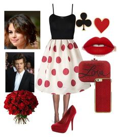 """""""Date with HARRY (red/white/black/ Selena Gomez)"""" by nikasopkovicova2 on Polyvore featuring Calvin Klein, WearAll, Delicious, Judith Leiber, Alison Lou and Cadeau"""