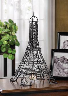 Eiffel Tower Metal Sculpture Candle Holder