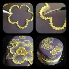 brush embroidery cake with yellow flowers Brush embroidery: a cake decorating technique that is so elegant, and so easy! You'll simply an already-covered cake, a paintbrush, and some thinned buttercream icing in an icing bag (the sma… Pretty Cakes, Beautiful Cakes, Amazing Cakes, Beautiful Flowers, Decoration Patisserie, Dessert Decoration, Cake Decorations, Flower Decorations, Cake Decorating Tips