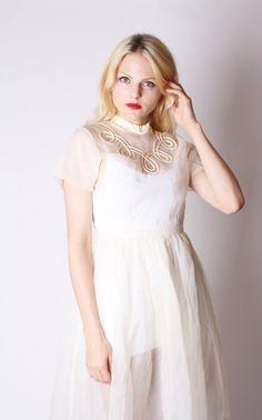 Vintage Wedding Dress / Sheer Wedding Dress / Short by aiseirigh