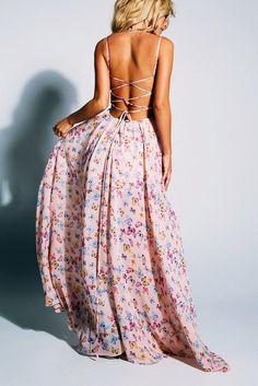 stripy cross back maxi dress