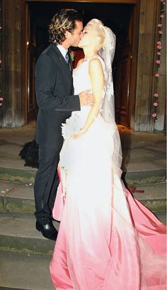 Who could forget Gwen Stefani's incredible dip-dyed wedding dress? // #Weddings