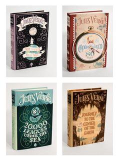 Fantastical book covers of Jules Verne's Classics.