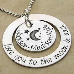 Love You To The Moon and Back Personalized Loop and Disc for Multiple Names