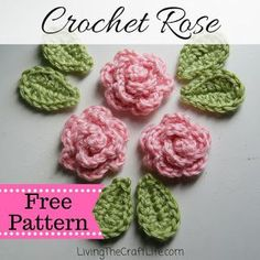 Crochet Flowers Design Living the Craft Life: Petite Rose Applique - Free Pattern - Free petite rose. Quick and easy to make. Crochet Leaf Free Pattern, Crochet Applique Patterns Free, Rose Applique, Crochet Leaves, Crochet Motifs, Crochet Stars, Free Crochet Rose Pattern, Crochet Appliques, Crochet Small Flower