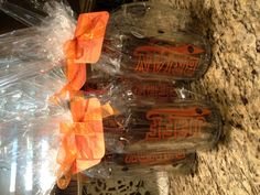 Personalized beer mug with bottle of beer and wrapped in celllo for coaches gift.