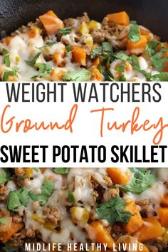 This ground turkey sweet potato skillet recipe is simple, easy, delicious, and Weight Watchers friendly! Each serving is only seven freestyle smart points. I love making recipes that are one pan, simp Healthy Turkey Recipes, Healthy Ground Turkey, Healthy Ground Chicken Recipes, Ground Turkey Recipe For Kids, Ground Turkey And Sweet Potato Recipe, Ground Turkey Meat Recipes, Weight Watchers Ground Turkey Recipe, Ground Turkey Casserole, Healthy Living Recipes