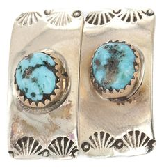 $200 Retail Tag Authentic Handmade Navajo Made by Charlene Little Silver Hooks Natural Turquoise Stud Native American Earrings *** Learn more by visiting the image link. (This is an affiliate link and I receive a commission for the sales)