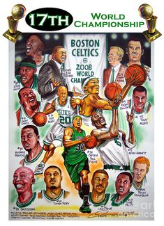 Boston Celtics World Championship Newspaper Poster Painting  - Boston Celtics World Championship Newspaper Poster Fine Art Print