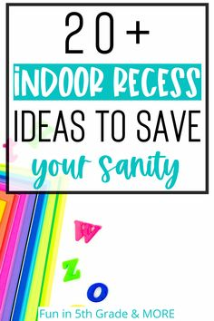 Indoor recess season is coming? Are you ready for it? Check out this post for 20+ ideas to keep it your sanity and make it FUN for your students. Games, activities, and music for upper elementary that will help you make it through. Your students will look forward indoor recess with these fun and engaging activities.