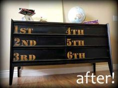 Inspired by the Anthropologie Ordinal Dresser, Korrie sanded down the wood finish, cut out vinyl numbers to stick onto the drawers, then painted the entire piece. When she removed the vinyl stickers, the original wood shone through the paint to give this piece a little something extra.