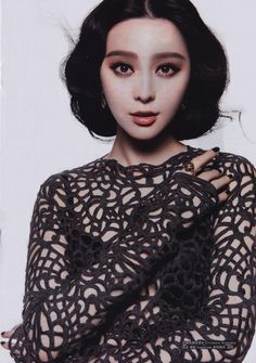 Chinese actress Fan Bingbing wearing a precious Ermanno Scervino long sleeve macramè top from the FW1314 show collection in a beautiful fashion editorial of magazine BQweekly. Pure sophisticated seduction #Scervinoeditorials #ermannoscervino