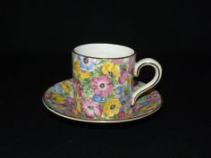 LORD NELSON WARE COLORFUL CHINTZ DEMITASSE CUP & SAUCER SET  FREE USA SHIPPING