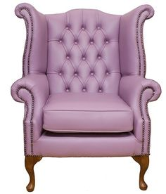 Chesterfield Queen Anne High Back Wing Chair UK Manufactured Lilac, Leather Sofas, Traditional Sofas